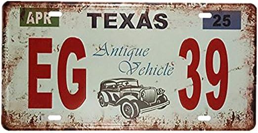 Eureya TEXAS EG 39 - Placa de matrícula para coche, diseño vintage ...