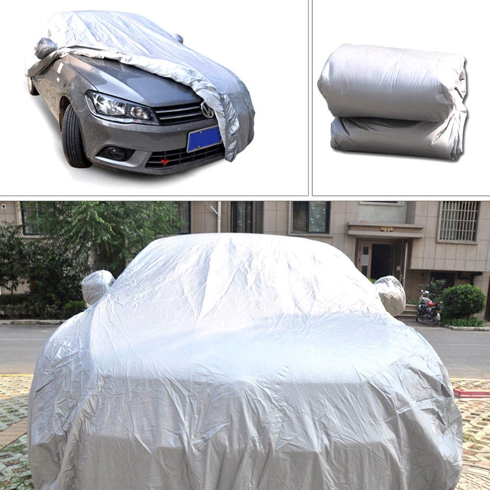 GEZICHTA Universal Car Cover, Outdoor Waterproof Sun-Proof UV Protection Full Size Car Protector Cover, All Season All Weather Protect from Moisture Snow Frost Corrosion Dust Dirt Scrapes(XXL)