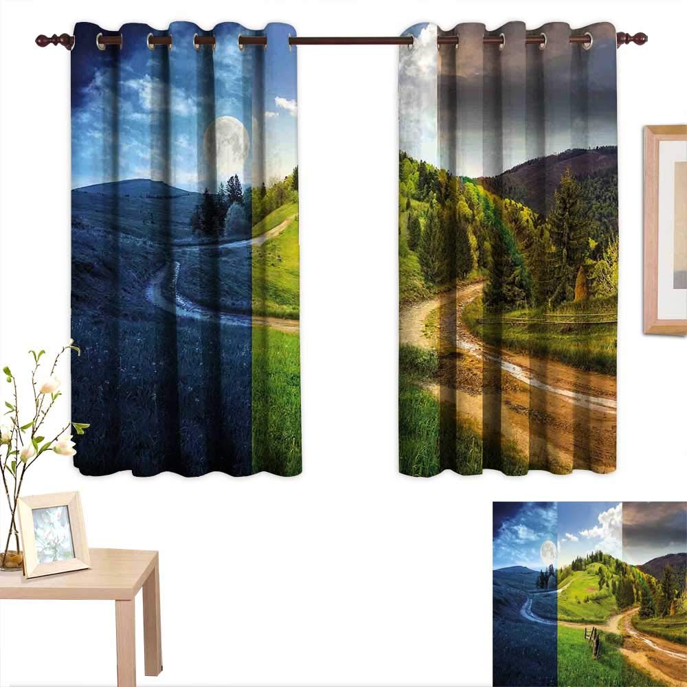 "AndyTours Bathroom Curtains Nature,Collage of Three Autumn Season Scene on Road Hillside Meadow in Mountain Range Print,Multicolor,Room Darkening Waterproof Curtains for Bathroom 42""x45"""
