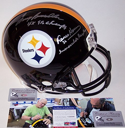 Terry Bradshaw & Franco Harris Autographed Hand Signed Pittsburgh Steelers Full Size Authentic Helmet - PSA/DNA