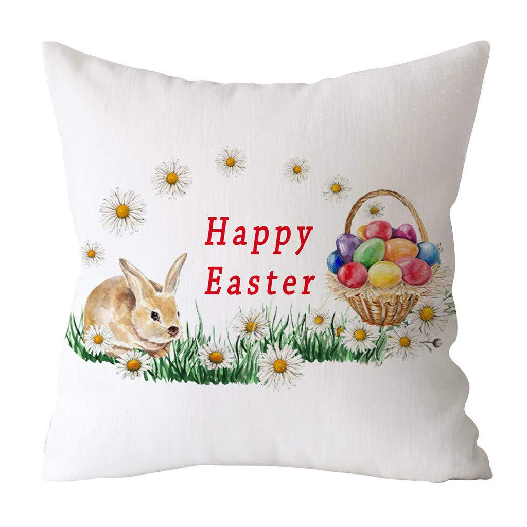 YAYUMI Easter Rabbit Print Pillow Case Polyester Sofa Car,Cushion Super Soft Premium Sofa Bed Car Waist Cushion Cover Home Decor