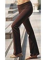 Ladies Lowrise Cotton Lycra Foldover Yoga Pants, Medium brown