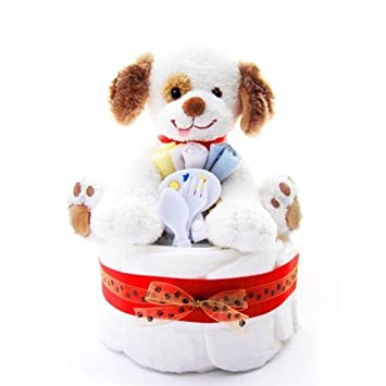 Amazoncom 1 Tier Puppy Themed New Baby Boy Diaper Cake Shower