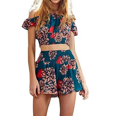 969b67597ce Amazon.com  SUNSIOM Women s Floral Print Off Shoulder Strapless Short  Romper Playsuit Jumpsuit  Clothing