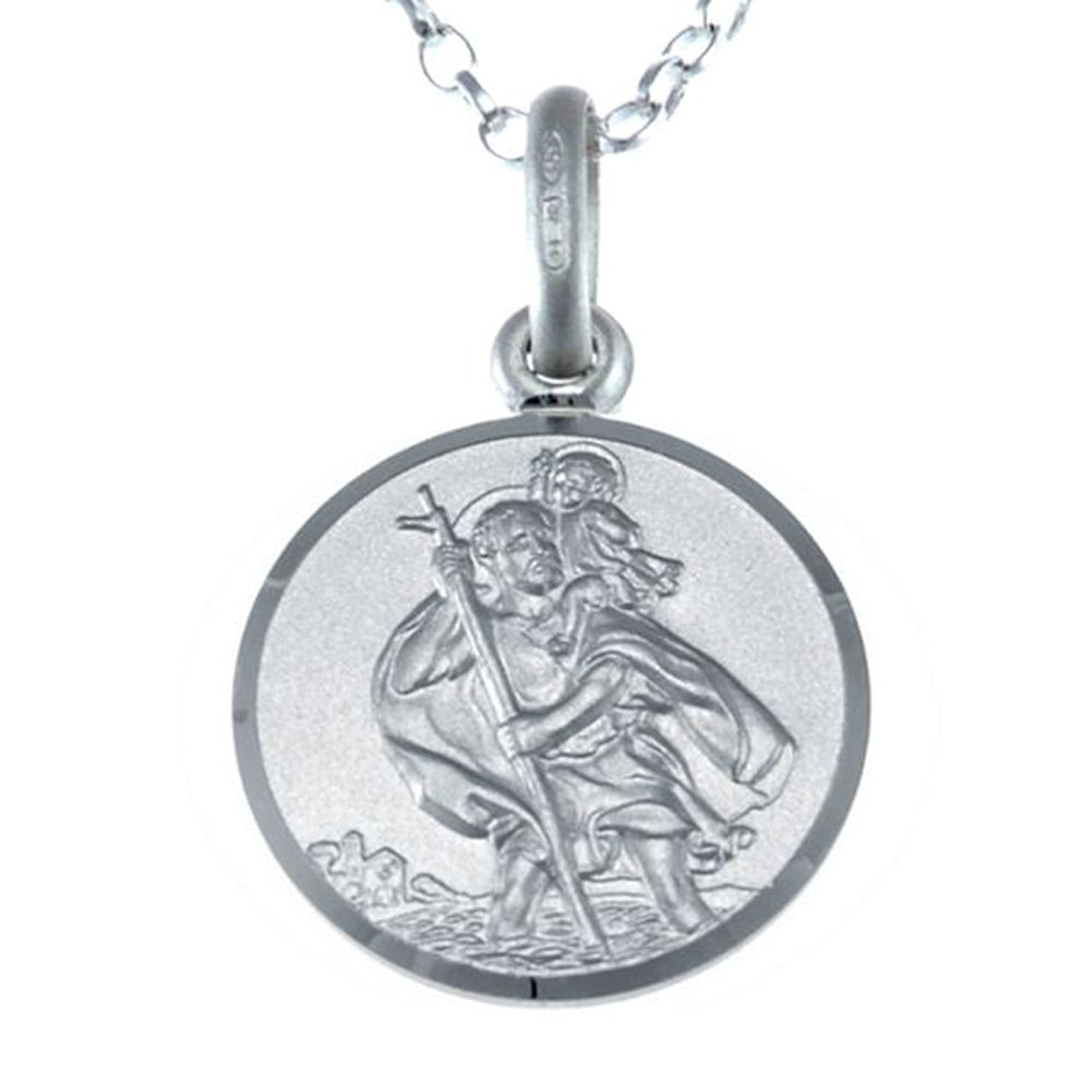 Small sterling silver st christopher pendant with 16 chain 12mm sterling silver st christopher pendant with 18 chain and jewellery gift box aloadofball Gallery