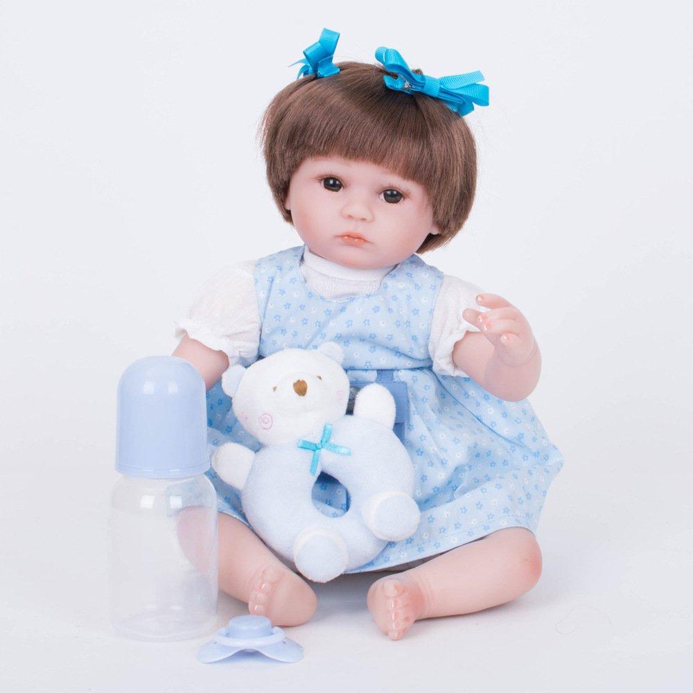42cm JHGFRT Wiedergeburt Baby Doll Simulation Kinderspielzeug Simulation Silikon Puppe Mädchen Geschenk 42 cm,42cm