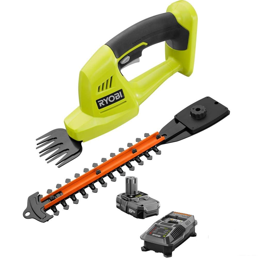 Ryobi ONE+ 18-Volt Lithium-Ion Cordless Grass Shear and Shrubber Trimmer -  1 3 Ah Battery and Charger Included