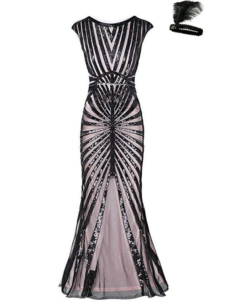 2836cb36b57 Formal Evening Dress 1920s Sequin Mermaid Formal Long Flapper Gown Party  (Black Pink