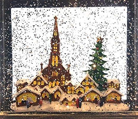 CBK-MS LED Weihnachtslaterne gro/ß Weihnachtsmarkt Laterne mit Timer Schneekugel Glitter Effekt Batteriebetrieb oder 230V m/öglich