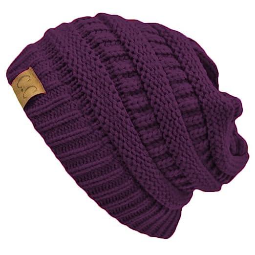0d14684cbc9 Purple Thick Slouchy Knit Oversized Beanie Cap Hat at Amazon Women's ...