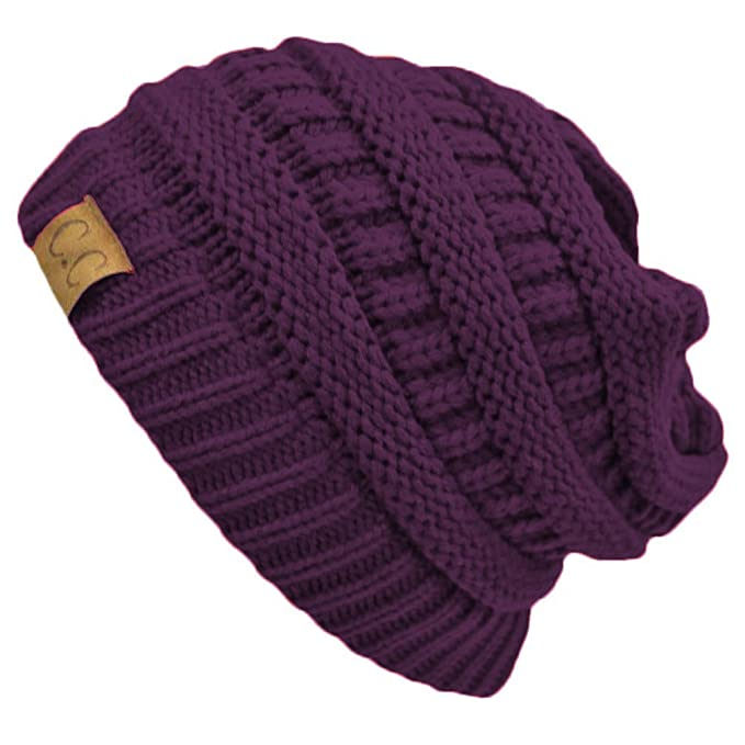 b3d5c94376d Image Unavailable. Image not available for. Color  Purple Thick Slouchy Knit  Oversized Beanie Cap Hat