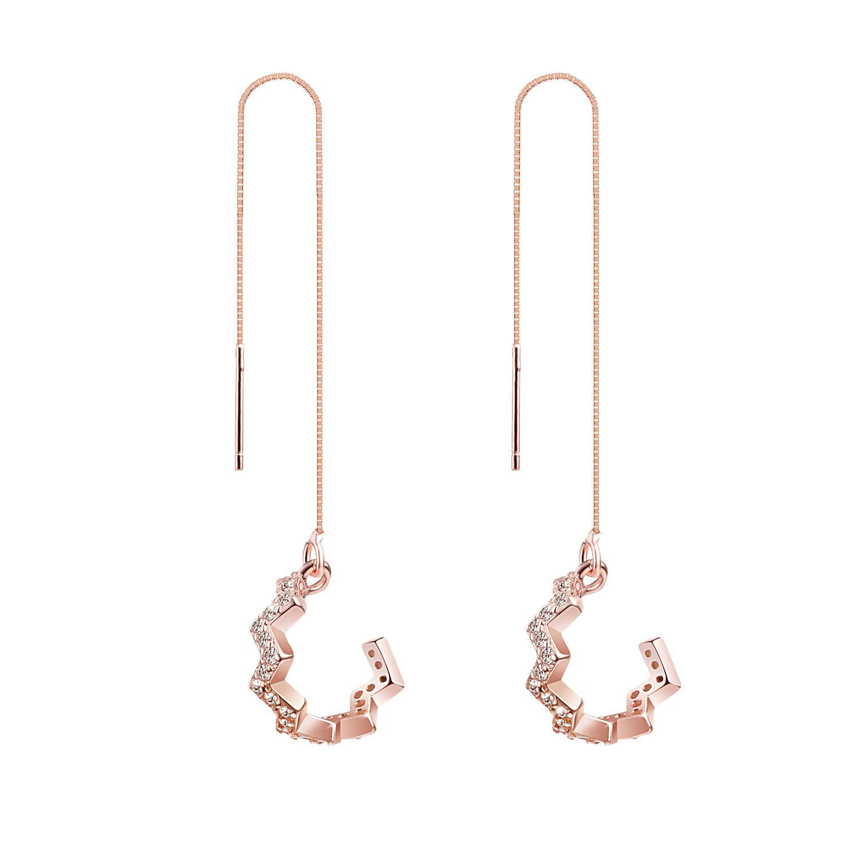 Rose Gold Plated Sterling Silver Long Chain Ear Cuffs, CZ Chevron Shaped Drop Threader Tassel Earrings, 3.5''