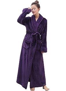 7a36239a1fa4a PUTUO Peignoir de Bain Femme Peignoir en Eponge Microfibre, Femme Robe de  Chambre Longue Hiver