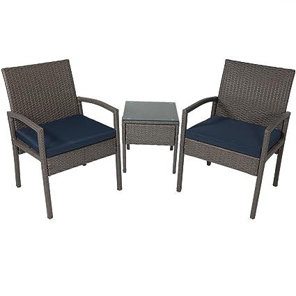 Charming Sunnydaze Bita 3 Piece Wicker Rattan Lounger Patio Furniture Set With Dark  Blue Cushions