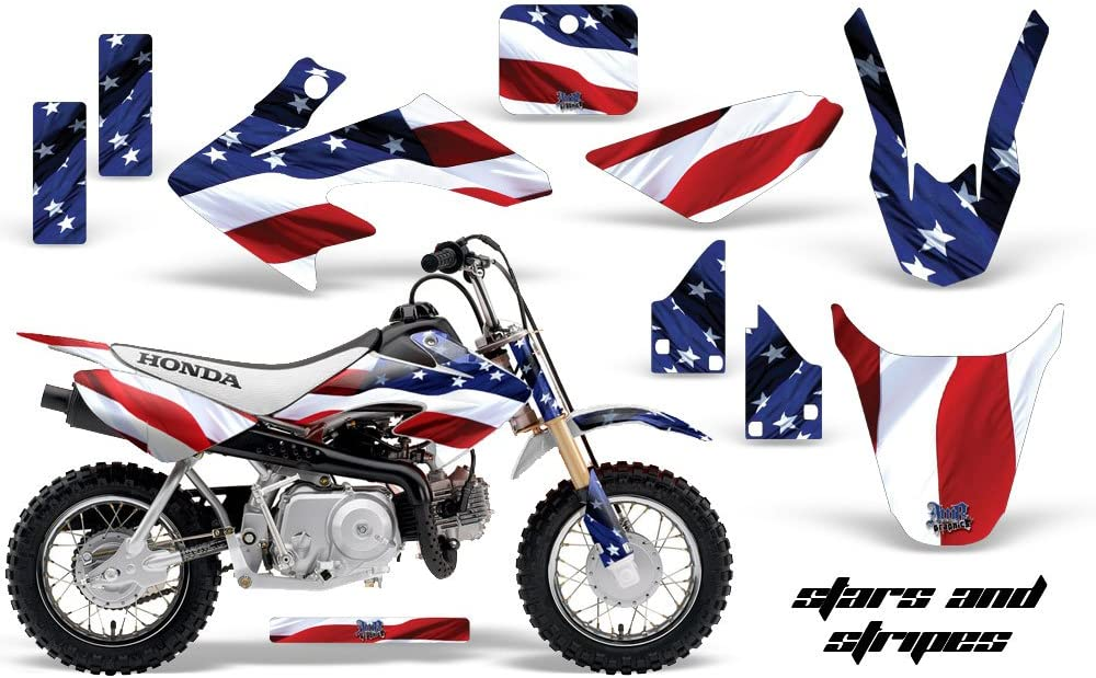 Stars /& Stripes AMR Racing MX Dirt Bike Graphic Kit Sticker Decals Compatible with Honda CRF50 2004-2013