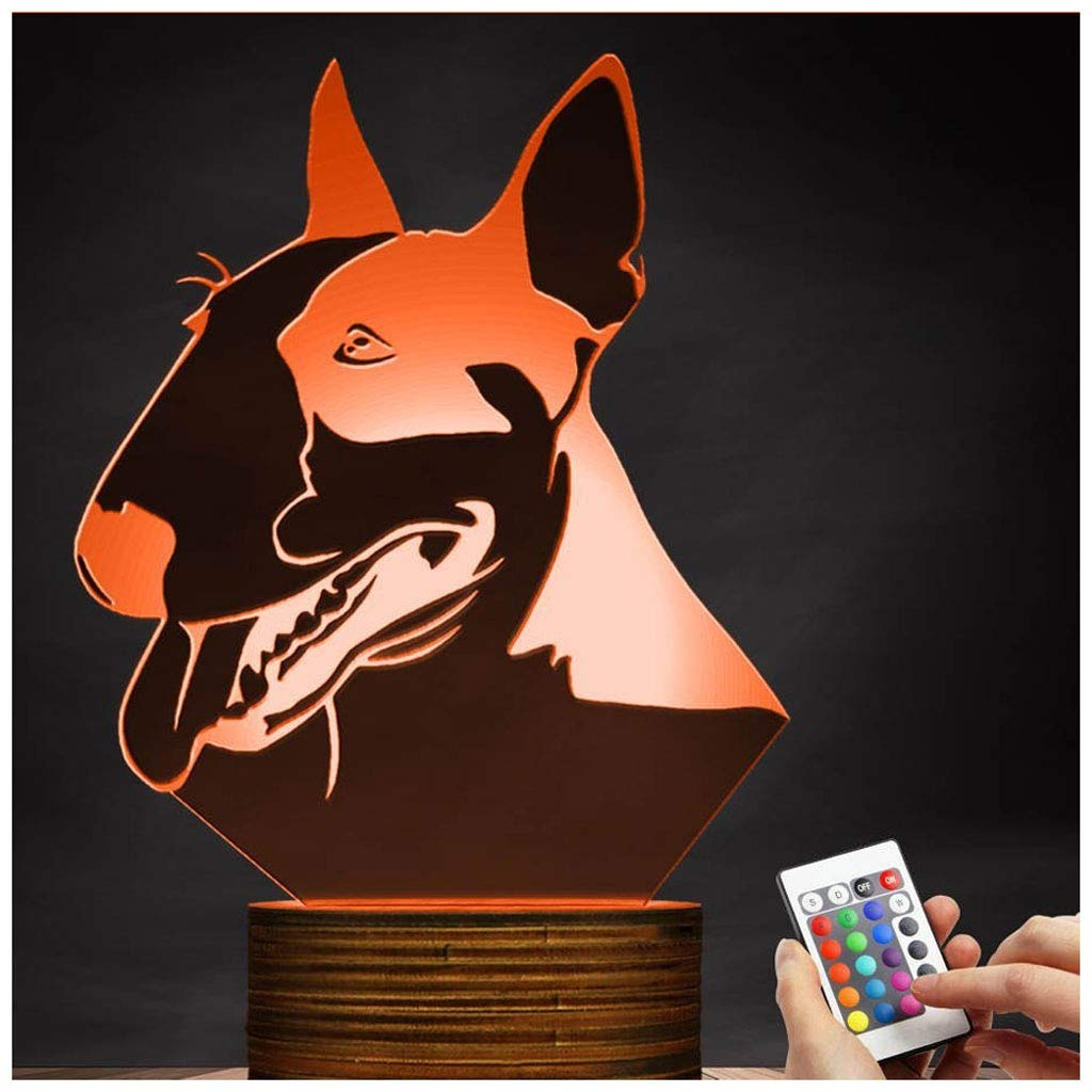 Novelty Lamp, Optical Illusion 3D LED Lamp Bull Terrier Night Light, USB Powered Remote Control Changes The Color of The Light, Bedroom Decoration Lighting for Children's, Ambient Ligh