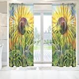 INGBAGS Elegant Voile Window Long Sheer Curtain 2 Panels Sunflowers Drawn By Gouache Print Tulle Polyester for Door Window Room Decoration 55×78 Inch ,Set of 2 Review