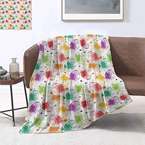 Pokemon Leaf Green Map (jecycleus Nature Children's Blanket Pattern with Colored Autumn Leaves and Blots Nature Seasonal Stylized Art Lightweight Soft Warm and Comfortable W60 by L50 Inch Green Purple)