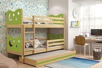 Etagenbett 180 90 : Max dreierbett für kinder etagenbett mit ausziehbett auf rollen