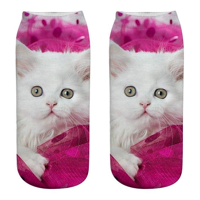 HCFKJ Calcetines Mujer Unisex Divertido 3D Moda Gato Impreso Casual Calcetines Calcetines De Tobillo De Corte Bajo Lindos: Amazon.es: Ropa y accesorios