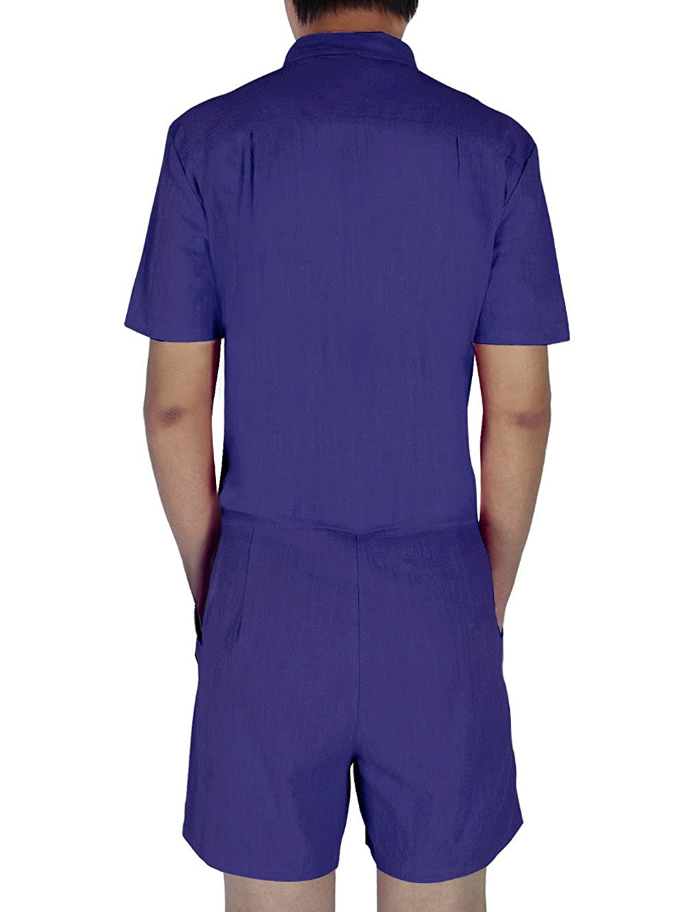 772008c7c1b2 Leapparel Purple Romper for Men Solid Overall with Grandad Collar and Hip  Hop Casual Short Cargo Pants Rompers Playsuit Fancy Dress One Piece Medium   ...