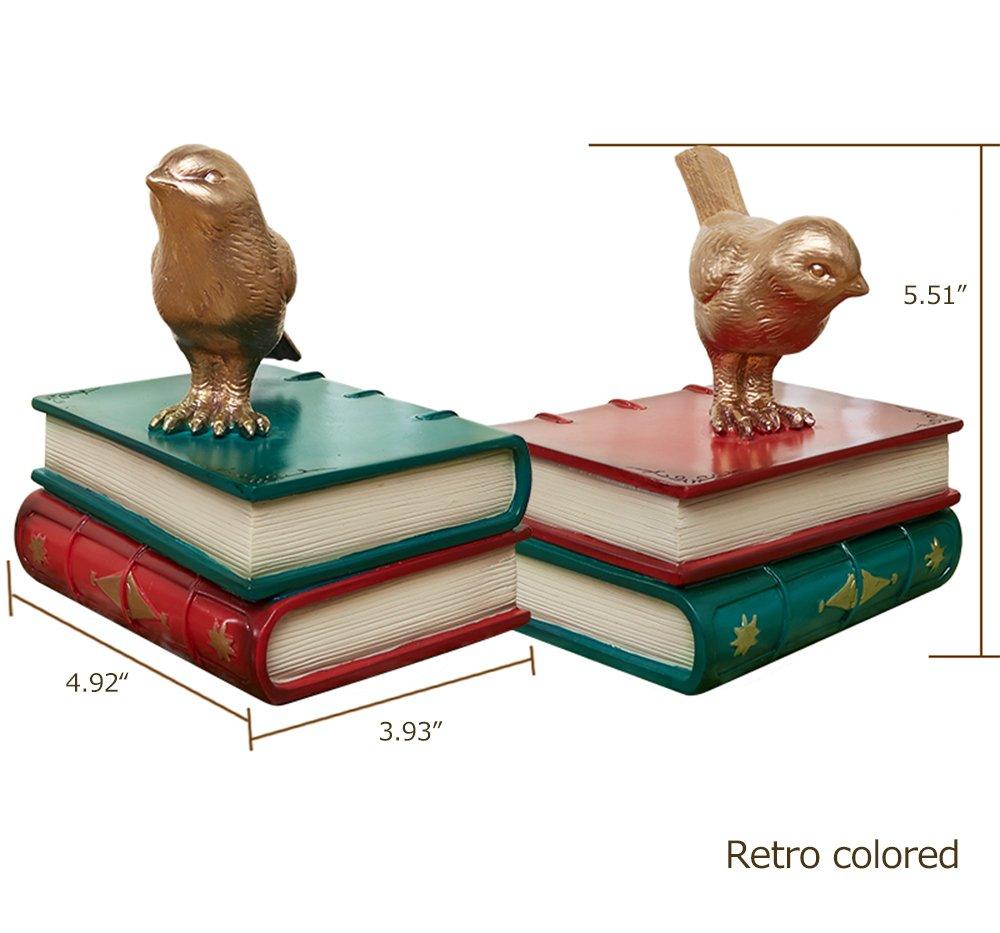 Acabado Pintado Dise/ño Retro MEGACY Sujetalibros de Resina para P/ájaros Decoraci/ón del hogar