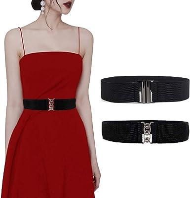 Moda para Mujeres y Chicas de ancho de cuero PU Vestido Elástico Cintura Elástica en la cintura cinturón