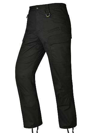 1eaf92f5f0a HARD LAND Men s Waterproof Tactical Pants Lightweight Work Cargo Pants with  Elastic Waist BDU Black Size