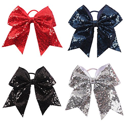 CN Sequin Cheer Bow Big School Color Hair Bow With Elastic Tie For Cheerleading Girls