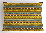 Ambesonne Mexican Pillow Sham, Traditional Native American Aztec Borders with Geometric Artistic Figures Vintage, Decorative Standard Size Printed Pillowcase, 26 X 20 inches, Multicolor