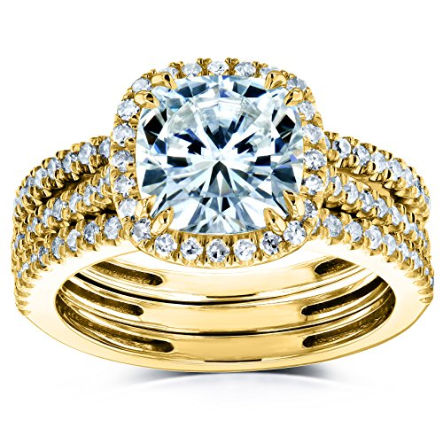 Cushion Brilliant Moissanite and Diamond Halo Bridal Wedding Rings Set 2 1/2 CTW 14k Yellow Gold (DEF/VS, GH/I), 9