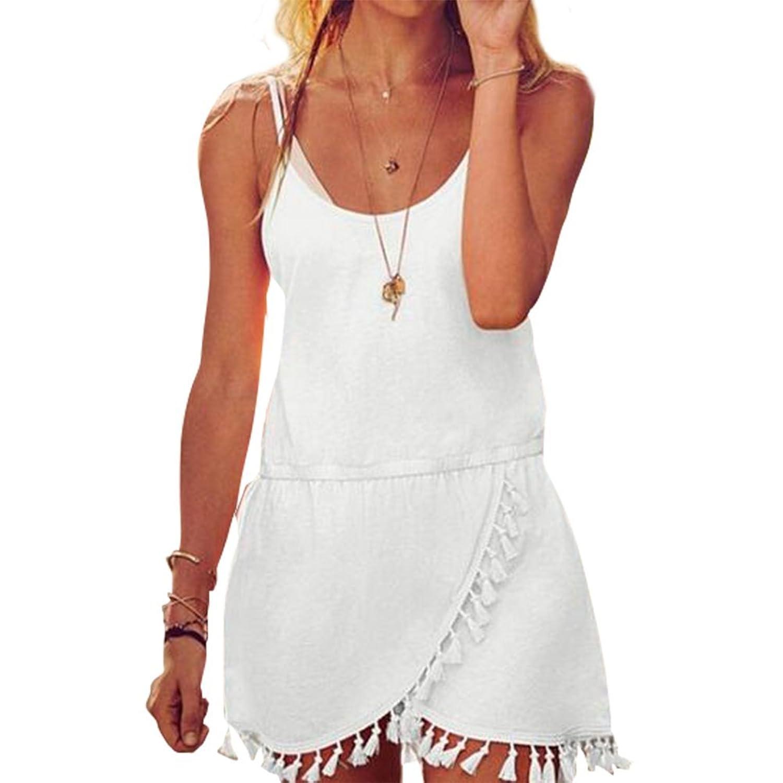 Evishine Sommerkleid Damen Strandkleid Quaste PartyKleid Sexy Kleid ...