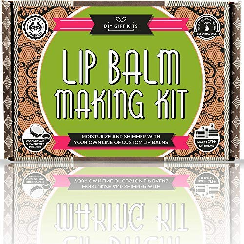 DIY Lip Balm Kit, (73-Piece Set) Homemade, Natural and Organic | Includes Tubes, Beeswax Pouch, Essential Oils, Labels, Stir Sticks & More (Best Lip Balm To Make Lips Pink)