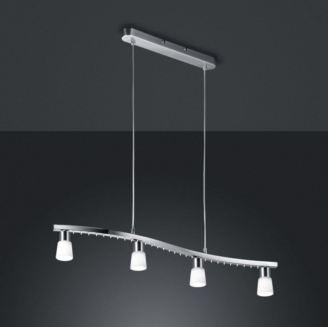 Trio-Leuchten Halogen/LED-Pendelleuchte in nickel matt/chrom, Glas ...