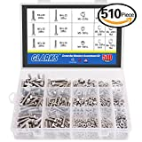 Glarks 510 Pieces Flat Hex Stainless Steel Screws Bolts nuts Lock and Flat Gasket Washers Assortment Kit