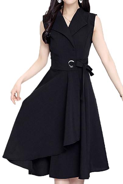Las Mujeres Vestido De Verano Beltd Oficina Asimétricos Vestidos Formal Plus Size Black M