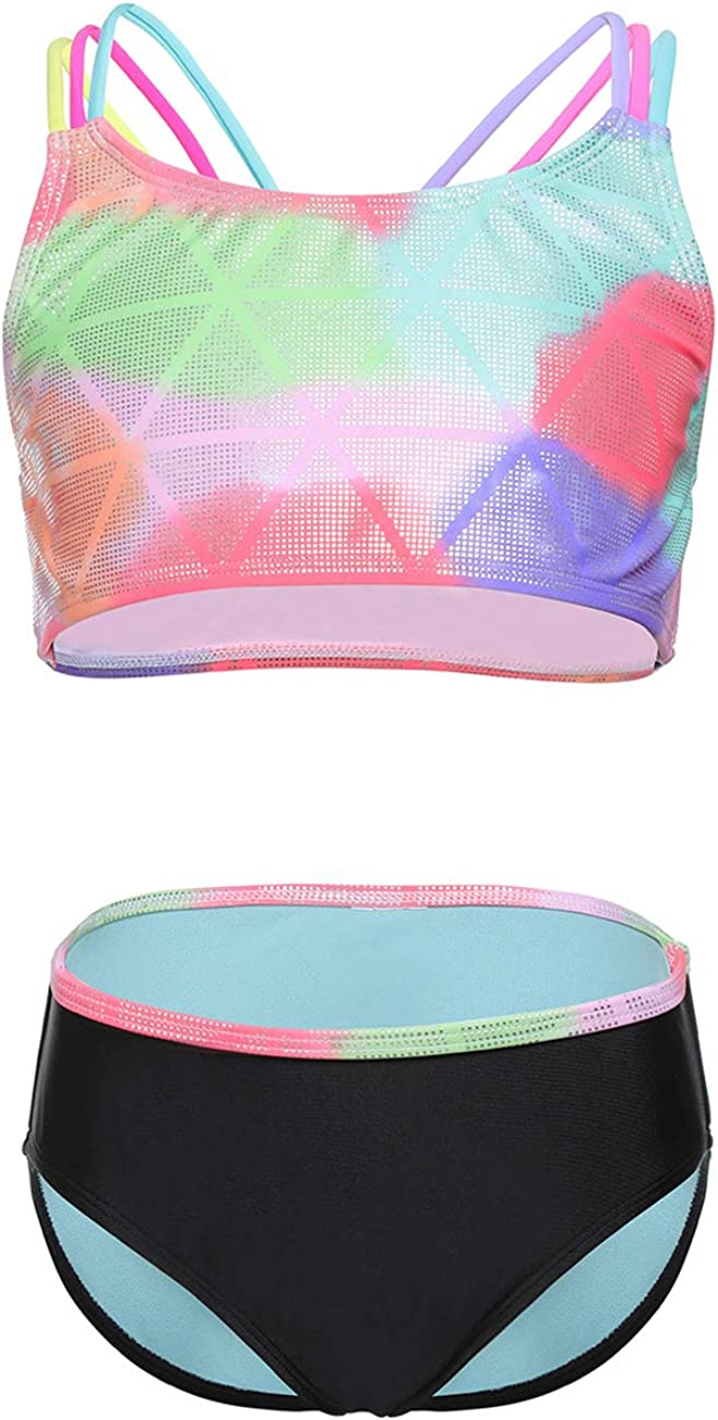 iDrawl Girls Kids Two Piece Tankini Set Swimwear H Back Colorful Retro Printed Swimming Costume Age 6 to 14