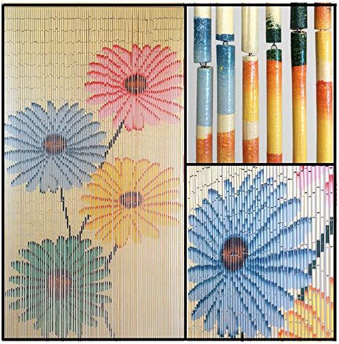 (BeadedString Hand Painted Natural Bamboo Wood Beaded Curtain-90 Strands-78 (6.5 ft) High-Boho Door Beads-Bohemian Doorway)