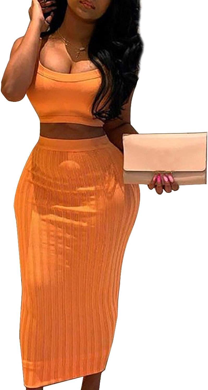 Conjunto de 2 Piezas de Top y Falda de Cuerpo Acanalado para Mujer ...
