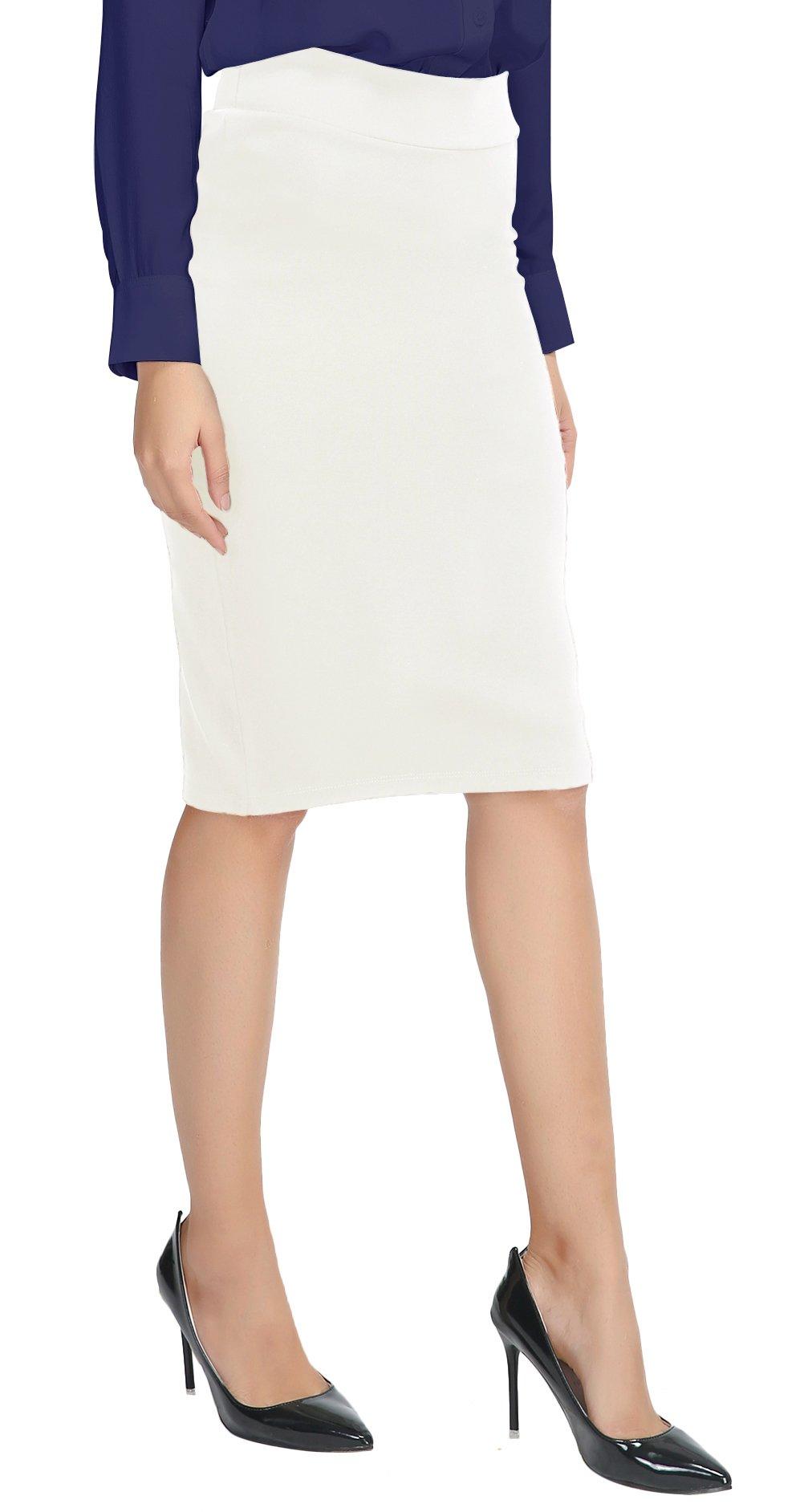 Urban CoCo Women's Elastic Waist Stretch Bodycon Midi Pencil Skirt (S, White)