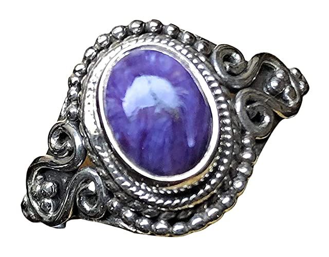 MK-07 Natural Russian Charoite Ring Huge Russian Charoite Ring Gift For Her Healing Ring 925 Sterling Silver Plated Jewelry US Size 7