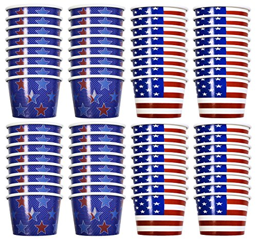 Set of 64 Patriotic Party Treat Cups! 8 Oz - American Flag - Stars and Stripes - Patriotic Party Cups Perfect for Candy, Ice Cream, Slushies, Soup, Food, Dips, Drinks, and More! (64)