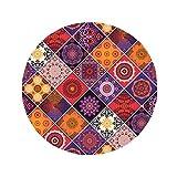 Arabian Ottoman Islamic Art Abstract Patterns Anti-slip Floor Pet Mat Round Bathroom Living Room Kitchen Door 80cm Gift