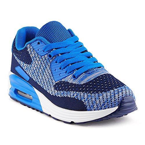 FiveSix Herren Damen Sneaker Sportschuhe Laufschuhe Freizeitschuhe Dämpfung Strick Schnürschuhe Low-Top Unisex Schuhe Dunkelblau/Blau-W