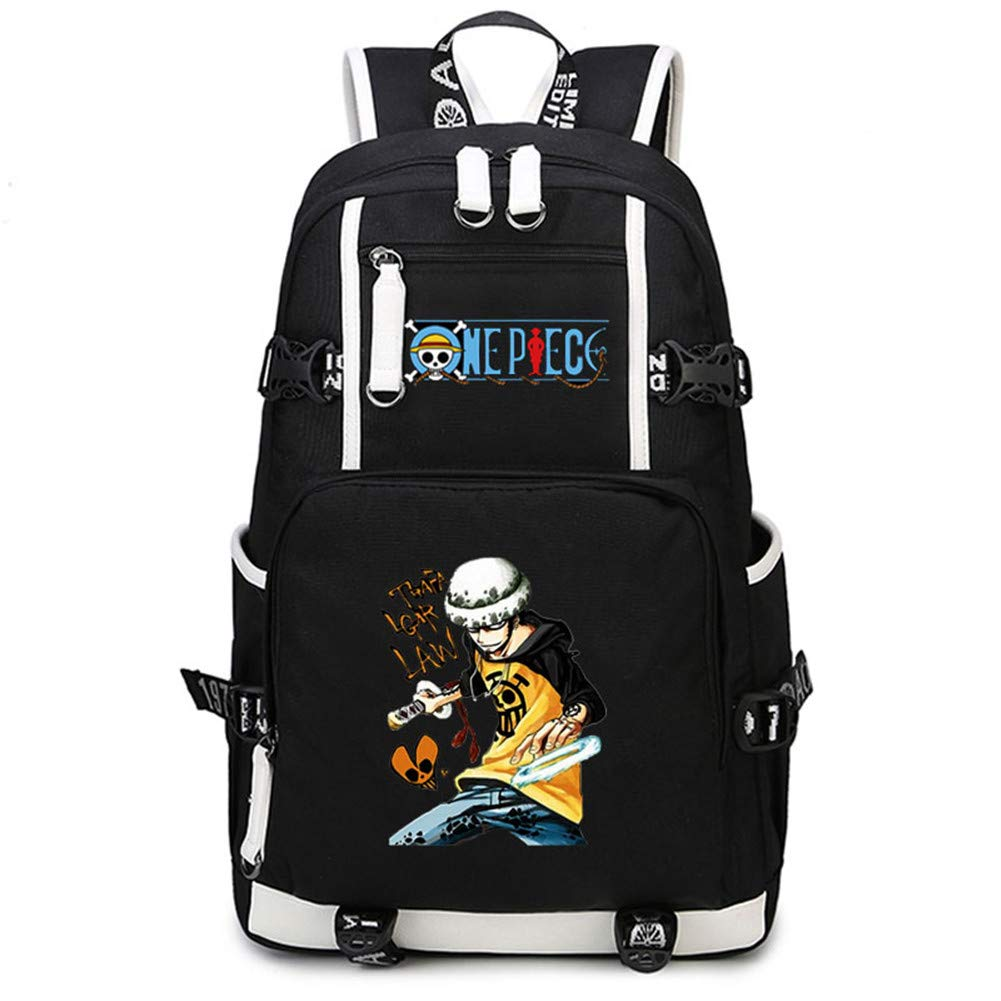 Gumstyle One Piece Anime School Bag Backpack Shoulder Laptop Bags for Boys Girls Students Monkey D Luffy Black 3