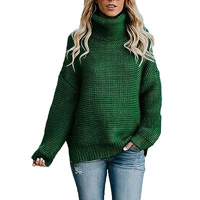 Pingrog Mujer Jersey Cuello Alto Invierno Moda Termica Otoño Suéter con Estilo único Pullover Elegantes Manga Larga High Collar Anchos Casual Unicolor Sweater Jerseys: Ropa y accesorios