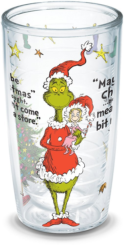 Seuss Clear Grinch Christmas Quote Tumbler with Wrap and Red Lid 24oz Tervis 1167039 Dr