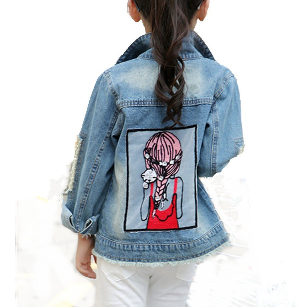 Star Flower Little Big Girls Denim Jackets Coats Outwear (8, Blue) by Star Flower (Image #1)