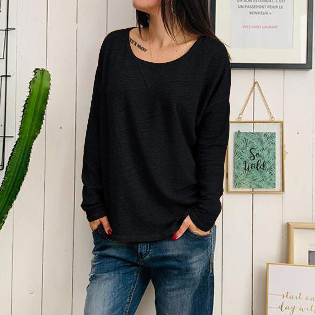 Womens Casual Loose Pullover Tunic Fall Long Sleeve Tops Scoop Neck Lightweight Basic Tunics Soft Blouse Tunic Shirts