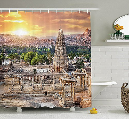 [House Decor Collection Viruphaksha Temple View Up from the Hills Sunset above City Buildings Rock Tower Picture Polyester Fabric Bathroom Shower Curtain Set with Hooks Cream] (Nerd Costumes At Party City)